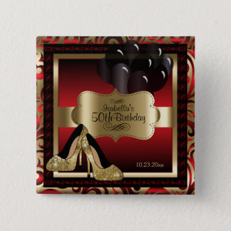 Birthday Party | Red and Gold 15 Cm Square Badge