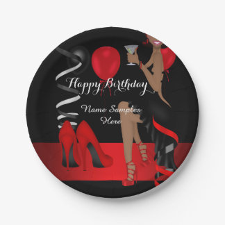 Birthday Party Red Black Shoe High Heels Ethnic 7 Inch Paper Plate