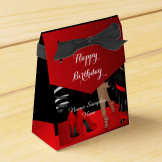 Birthday Party Red Black Shoe High Heels Favour Favour Box