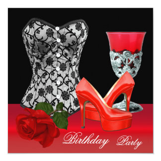 "Birthday Party Red Black Shoes Corset Rose 5.25"" Square Invitation Card"