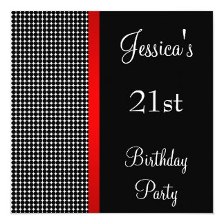 Birthday Party Red Black & White Dots Pattern 13 Cm X 13 Cm Square Invitation Card
