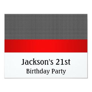 Birthday Party Red Black & White Grey Pattern 11 Cm X 14 Cm Invitation Card