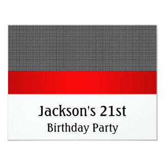 "Birthday Party Red Black & White Grey Pattern 4.25"" X 5.5"" Invitation Card"