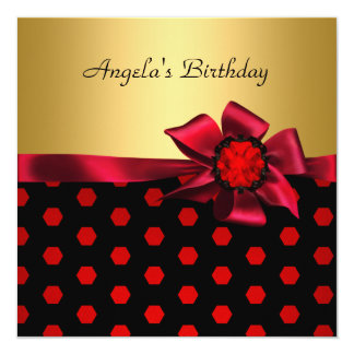 Birthday Party Red Bow Gold Black Gold Spot Card