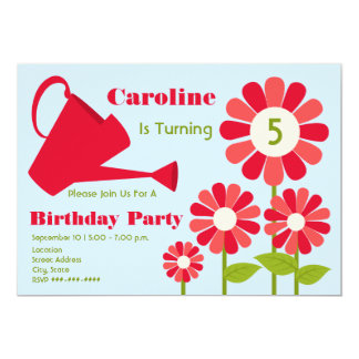 Birthday Party - Red Flower Garden & Watering Can 5x7 Paper Invitation Card