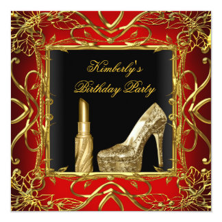 Birthday Party Red Gold Black Shoe Lipstick Card