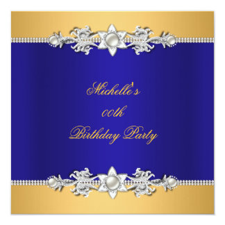 Birthday Party Royal Blue Pearl Trim Jewel Card
