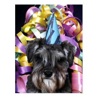 Birthday Party Schnauzer Ribbon Behind Postcard