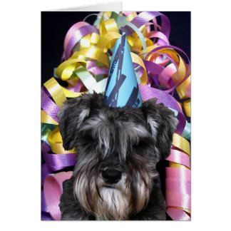 Birthday Party Schnauzer with Ribbon Behind Card