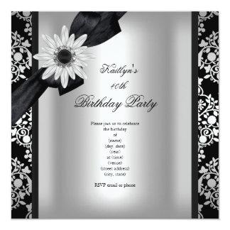 Birthday Party Silver Grey Black Damask Flower 13 Cm X 13 Cm Square Invitation Card