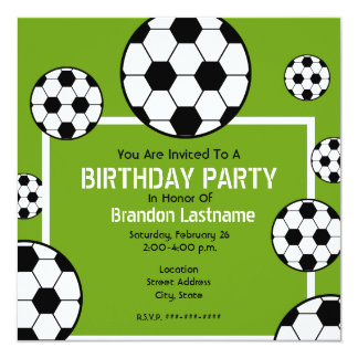 Birthday Party - Soccer Field & Soccer Balls Custom Announcement