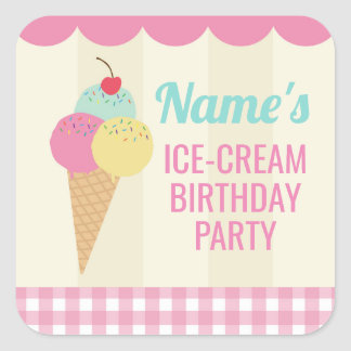 Birthday Party Stickers Ice-Cream Pink Lolly