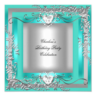 Birthday Party Teal Blue Turquoise Silver Card