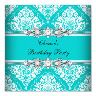 Birthday Party Teal Blue White Damask Floral 13 Cm X 13 Cm Square Invitation Card