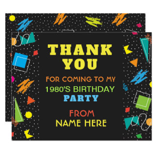 Birthday Party Thank You 1980's Eighties 80s Card