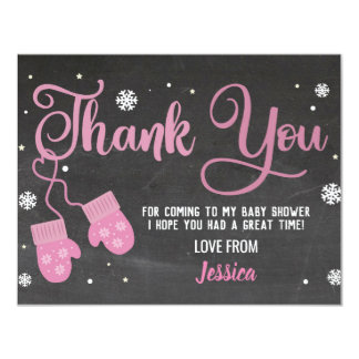 Birthday Party Thank You Mittens Pink Snowflakes Card