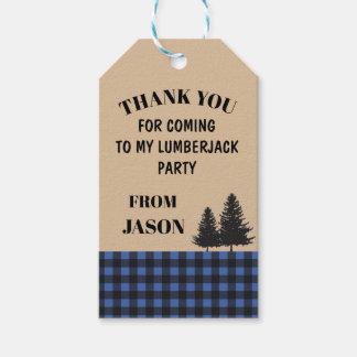 Birthday Party Thank You Tag Lumberjack Blue Plaid