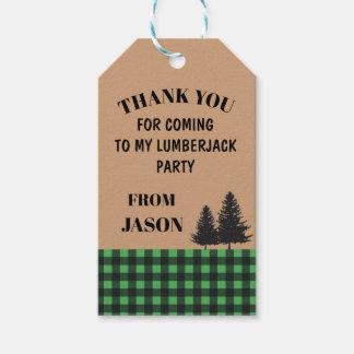 Birthday Party Thank You Tag Tree Lumberjack Plaid