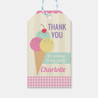 Birthday Party Thank You Tags Ice-Cream Pink