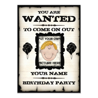 Birthday Party Wanted Invitations