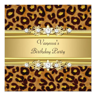 "Birthday Party Wild Animal Print Gold Black 5.25"" Square Invitation Card"