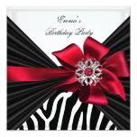 Birthday Party Zebra Elegant Red Black White 13 Cm X 13 Cm Square Invitation Card