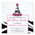 Birthday Party - Zebra Print & Pink Party Hat Personalised Invitation