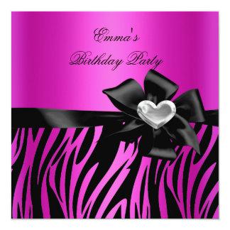 Birthday Party Zebra Silver Hot Pink Black Card