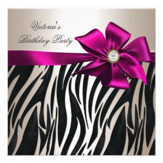 Birthday Party Zebra White Cream Black Pink Personalized Invites