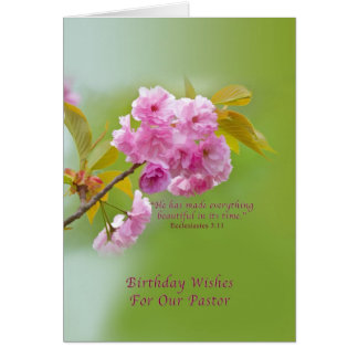 Birthday, Pastor, Cherry Blossoms, Religious Card