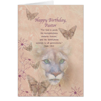 Birthday, Pastor, Cougar and Butterflies Card