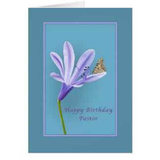 Birthday, Pastor, Daylily Flower and Butterfly Greeting Card