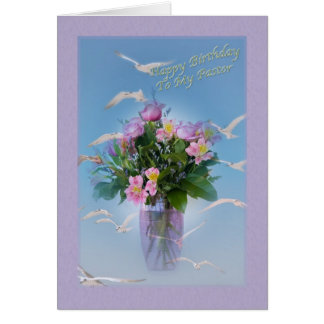 Birthday, Pastor, Flowers and Birds Greeting Card