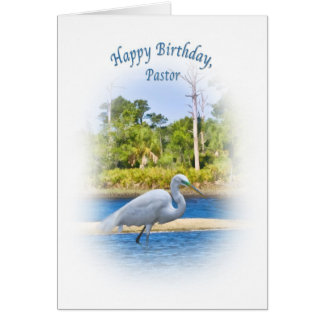 Birthday, Pastor, Great Egret Card