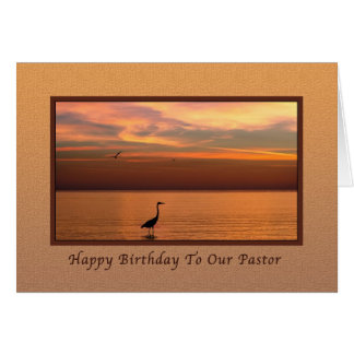 Birthday, Pastor, Ocean View at Sunset Greeting Card