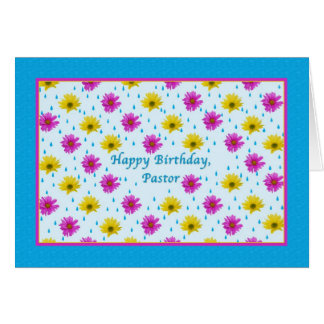 Birthday, Pastor, Pink and Yellow Daisies Greeting Card