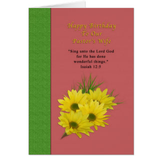 Birthday, Pastor's Wife, Yellow Daisies, Religious Greeting Card