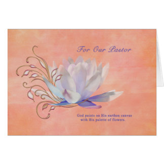 Birthday Pastor Water Lily Religious Cards
