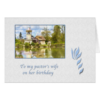 Birthday, Pastor's Wife, Cottage by Lake Greeting Cards