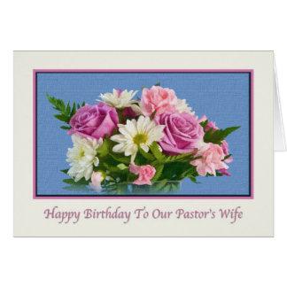 Birthday, Pastor's Wife, Flowers, Birds Greeting Card
