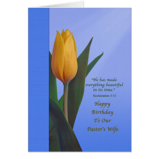 Birthday, Pastor's Wife, Golden Tulip Flower Greeting Card