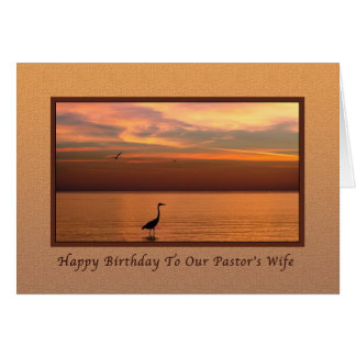Birthday, Pastor's wife, Ocean View at Sunset Greeting Card