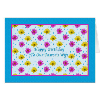 Birthday, Pastor's Wife, Pink and Yellow Daisies Greeting Card