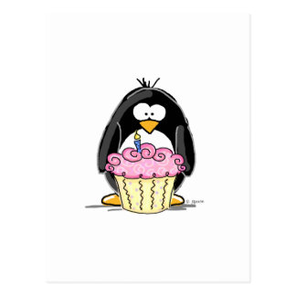 Birthday Penguin with Cupcake Postcards