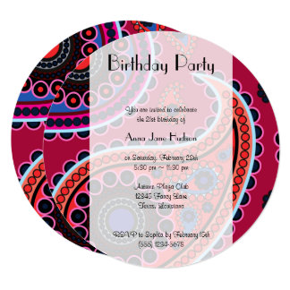Birthday - Persian Paisley, Dots - Red Blue Pink Card