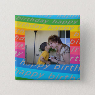 Birthday Photo Button/Pin Template 15 Cm Square Badge