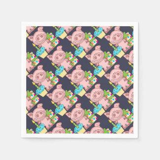 Birthday Pig, Present & Cupcake Paper Serviettes