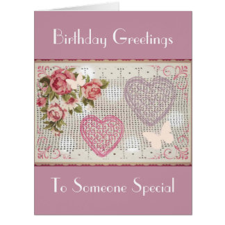 Birthday Pink Floral Decorative Art Card