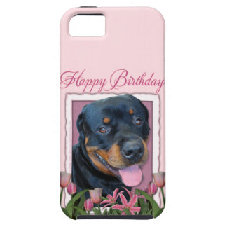 Birthday - Pink Tulips - Rottweiler - Harley Tough iPhone 5 Case