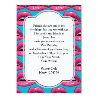 Birthday Pop Art Pink Lips Makeup Card
